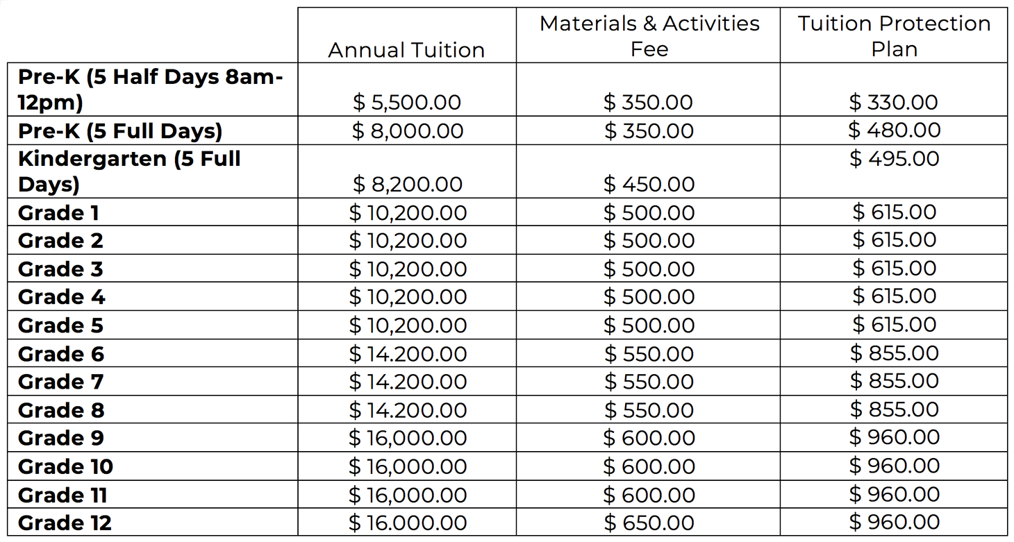 VBFS - Tuition Schedule